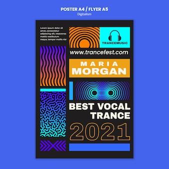 Verticale poster voor trancemuziekfeest 2021