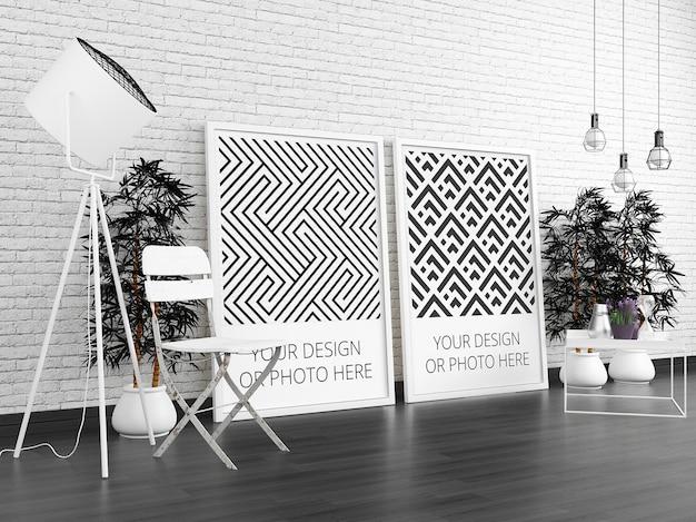 Verticale posters in modern interieurmodel