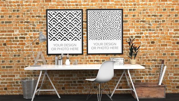 Verticale posters mockup in modern kantoor aan huis van rode baksteen