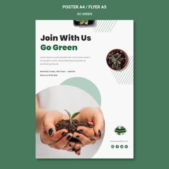 Verticale postersjabloon om groen en milieuvriendelijk te gaan
