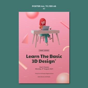 Verticale postersjabloon voor 3d-ontwerp met vrouw