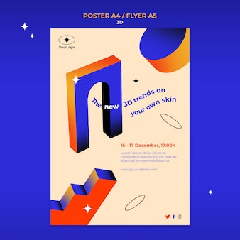 Verticale postersjabloon voor 3d-trends