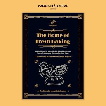 Verticale postersjabloon voor bakkerijwinkel met handgetekend schoolbord Premium Psd