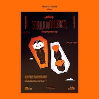 Verticale postersjabloon voor halloween met vampier in doodskist