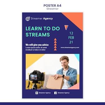 Verticale postersjabloon voor het streamen van online inhoud