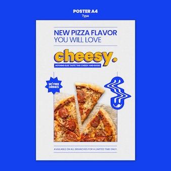 Verticale postersjabloon voor nieuwe kaasachtige pizzasmaak
