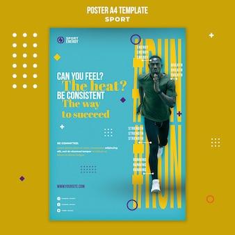 Verticale postersjabloon voor sport met motiverende citaten
