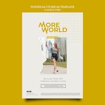 Verticale postersjabloon voor steden en plaatsen die reizen