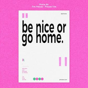 Verticale postersjabloon voor typefrases