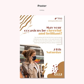 Verticale postersjabloon voor vakantiereizen met persoon die een medisch masker draagt