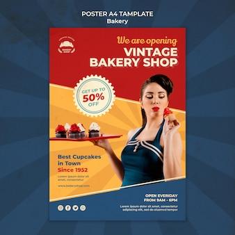 Verticale postersjabloon voor vintage bakkerijwinkel met vrouw