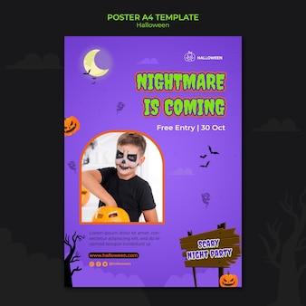 Verticale postsjabloon voor halloween met kind in kostuum