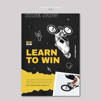 Verticale sjabloon folder voor bmx fietsen met man en fiets