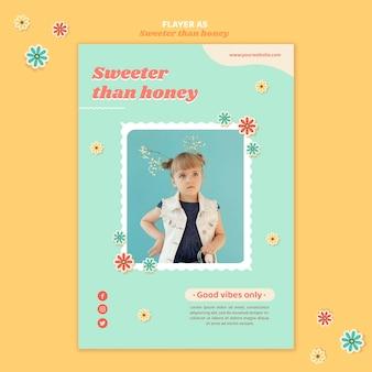 Verticale sjabloon folder voor kinderen met bloemen