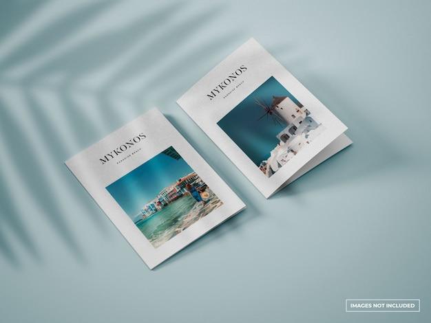 Verticale tweevoudige brochure mockup