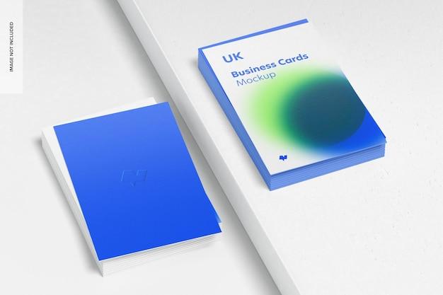 Verticale visitekaartjes mockup, gestapelde set