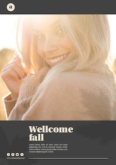 Verticale websjabloon met blonde vrouw