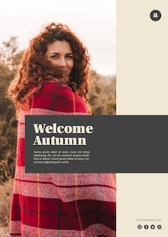 Verticale welkom herfst websjabloon met krullend haar vrouw
