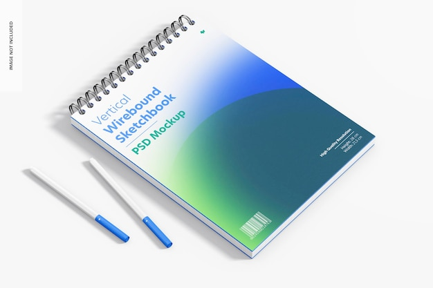 Verticale wirebound sketchbook mockup