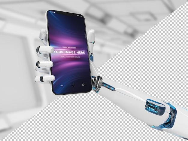 Verwijder witte robothand houdend modern smartphonemodel