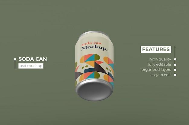 Verwisselbare moderne aluminium drank kan mockup-ontwerp