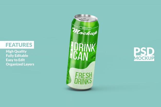 Verwisselbare moderne drijvende links lange aluminium drank kan mock-ups ontwerpsjabloon premium psd