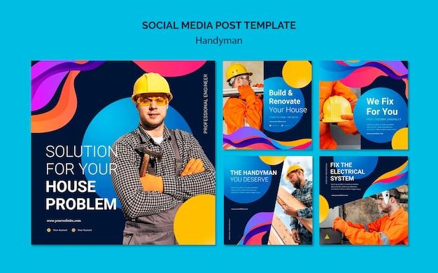 Verzameling instagram-berichten voor bedrijf dat klusjesman-services aanbiedt