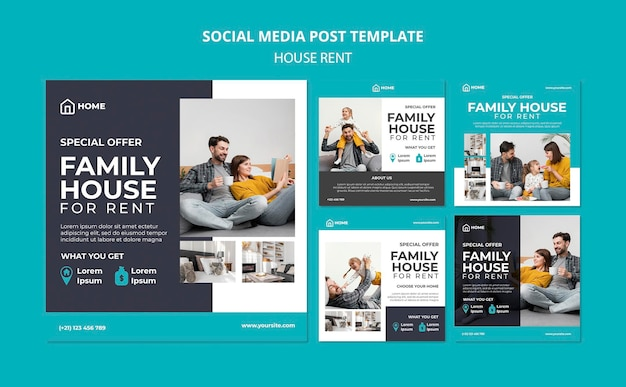 Verzameling instagram-berichten voor het huren van een gezinswoning