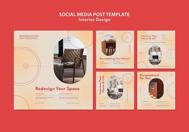 Verzameling instagram-berichten voor interieurontwerp