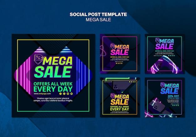 Verzameling instagram-berichten voor mega-verkoop