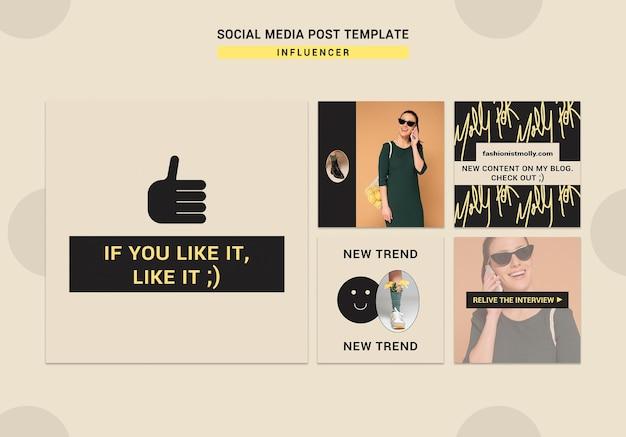 Verzameling instagram-berichten voor mode-influencer op sociale media