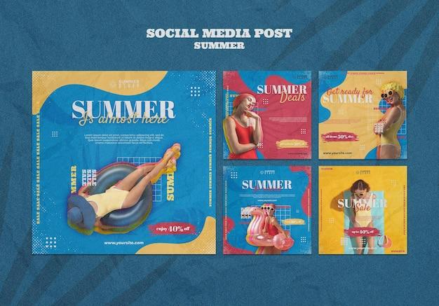 Verzameling instagram-berichten voor zomerverkoop met vrouw