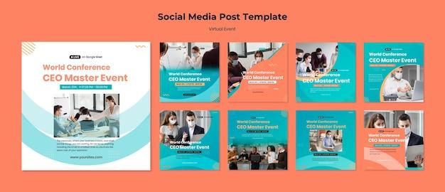 Verzameling instagram-posts voor ceo master-evenementconferentie Premium Psd
