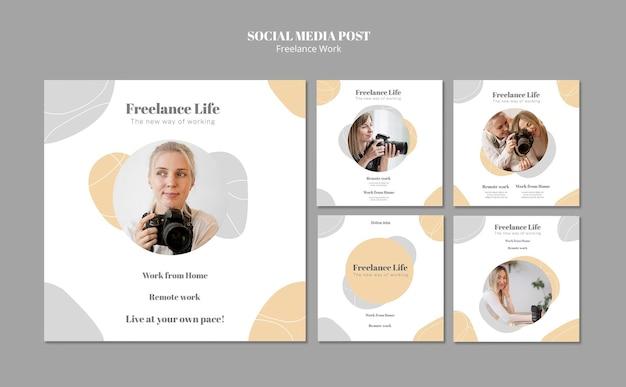Verzameling instagram-posts voor freelancen met een vrouwelijke fotograaf
