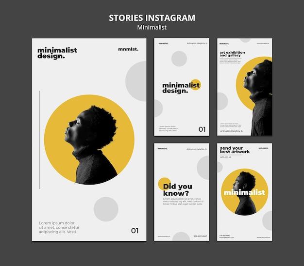 Verzameling instagram-verhalen in minimalistische stijl voor kunstgalerie met man