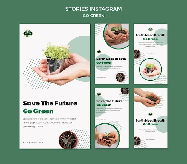 Verzameling instagram-verhalen om groen en milieuvriendelijk te gaan