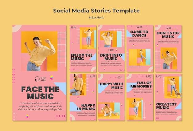 Verzameling instagram-verhalen om van muziek te genieten