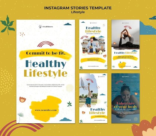 Verzameling instagram-verhalen voor een gezonde levensstijl