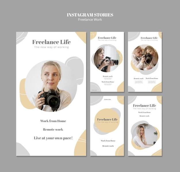 Verzameling instagram-verhalen voor freelancewerk met vrouwelijke fotograaf