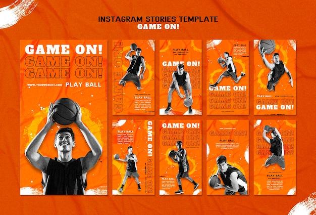 Verzameling instagram-verhalen voor het spelen van basketbal