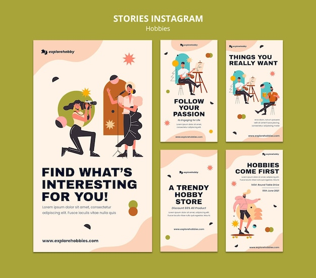 Verzameling instagram-verhalen voor hobby's en passies