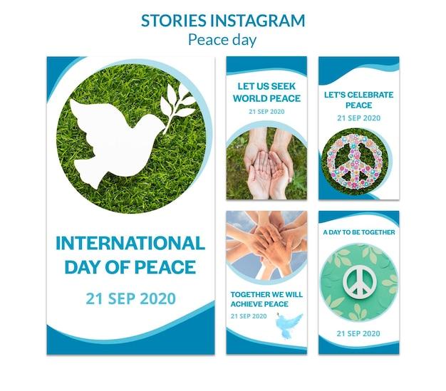 Verzameling instagram-verhalen voor internationale dag van vrede