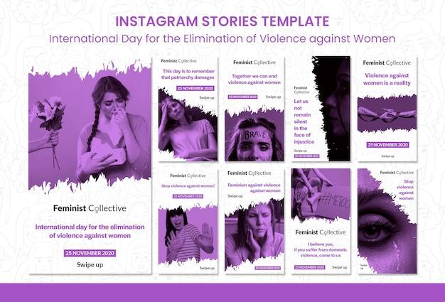 Verzameling instagram-verhalen voor internationale dag voor de uitbanning van geweld tegen vrouwen