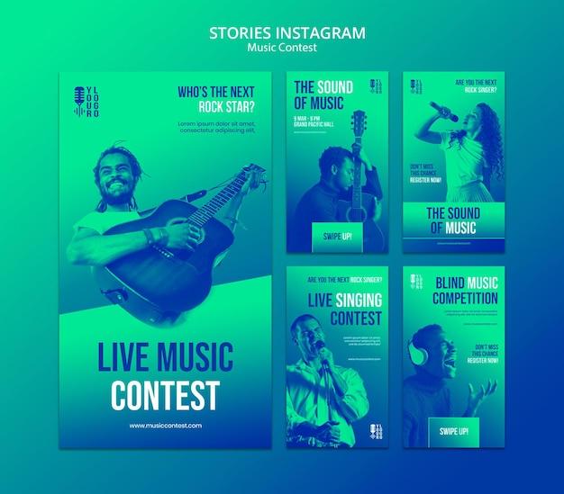 Verzameling instagram-verhalen voor livemuziekwedstrijd met artiest