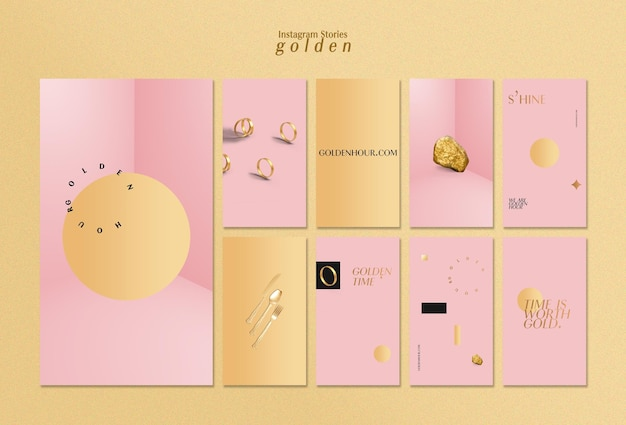 Verzameling instagram-verhalen voor luxueus goud