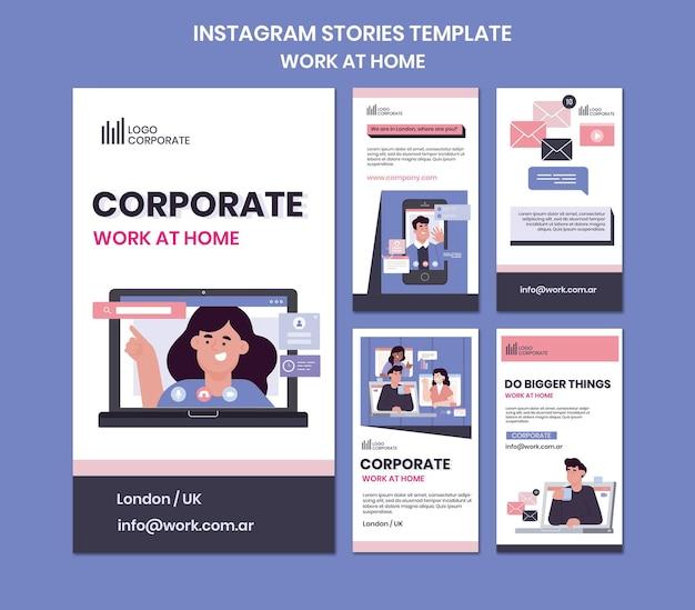 Verzameling instagram-verhalen voor thuiswerken