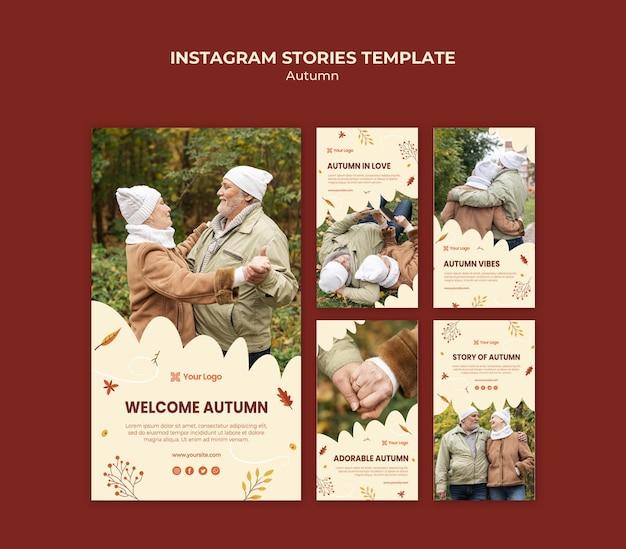 Verzameling instagramverhalen voor het verwelkomen van het herfstseizoen