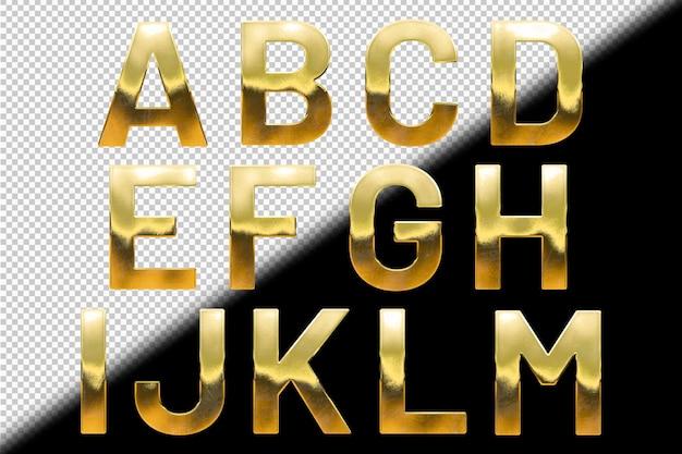 Verzameling van gouden letters a tot m