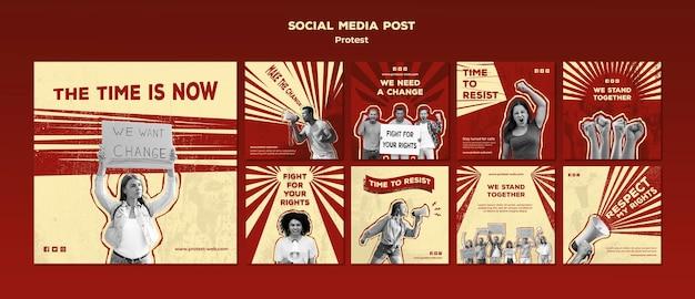 Verzameling van instagram-berichten met protest voor mensenrechten