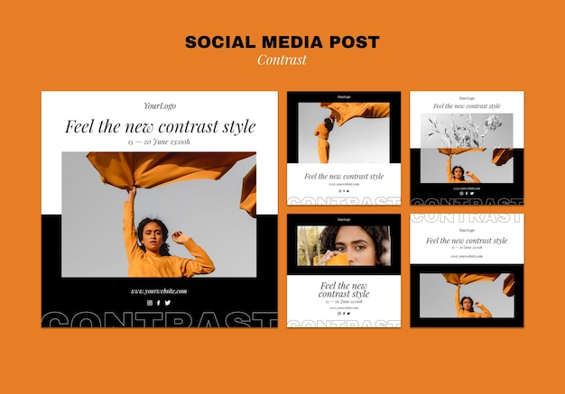 Verzameling van instagram-berichten voor een contrasterende stijl